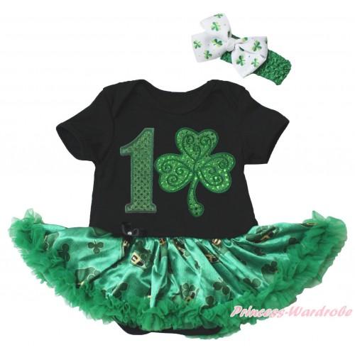 St Patrick's Day Black Baby Bodysuit Kelly Green Clover Pettiskirt & 1st Sparkle Kelly Green Birthday Number Clover Print JS5382