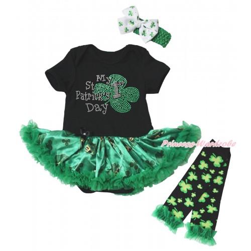 St Patrick's Day Black Baby Bodysuit Kelly Green Clover Pettiskirt & Sparkle Rhinestone My 1st St Patrick's Day Print & Warmers Leggings JS5383
