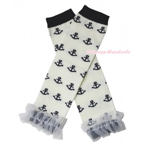 Newborn Baby White Black Anchor Leg Warmers Leggings & White Ruffles LG304