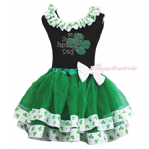 St Patrick's Day Black Tank Top Clover Satin Lacing & Sparkle Rhinestone My 2nd St Patrick's Day Print & White Bow Kelly Green Clover Satin Trimmed Tutu Pettiskirt MG2215