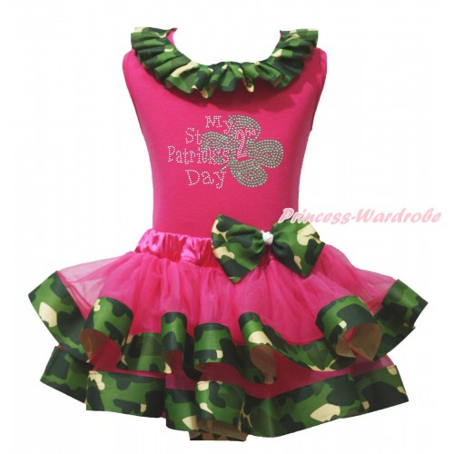 St Patrick's Day Hot Pink Tank Top Camouflage Lacing & Sparkle Rhinestone My 2nd St Patrick's Day Print & Hot Pink Camouflage Trimmed Pettiskirt MG2219