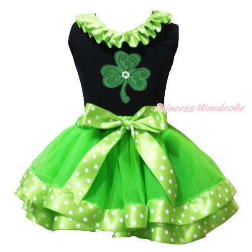 St Patrick's Day Black Pettitop Dark Green White Dots Lacing & Clover Print & Dark Green White Dots Trimmed Pettiskirt MG2230