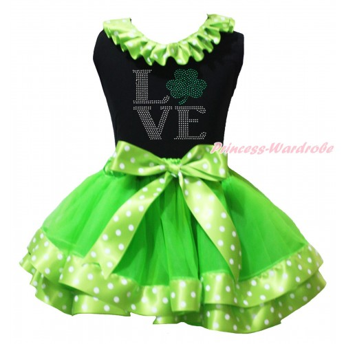 St Patrick's Day Black Pettitop Dark Green White Dots Lacing & Sparkle Crystal Bling Rhinestone Love Clover Print & Dark Green White Dots Trimmed Pettiskirt MG2231