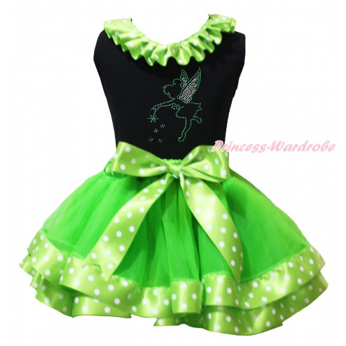 St Patrick's Day Black Pettitop Dark Green White Dots Lacing & Sparkle Rhinestone Tinker Bell Print & Dark Green White Dots Trimmed Pettiskirt MG2232