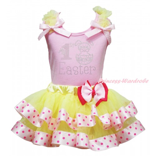 Easter Light Pink Baby Pettitop Yellow Ruffles Light Pink White Dots Bow & Sparkle Rhinestone My 1st Easter Print & Light Hot Pink Bow Yellow Light Hot Pink Dots Satin Trimmed Tutu Newborn Pettiskirt NG2094