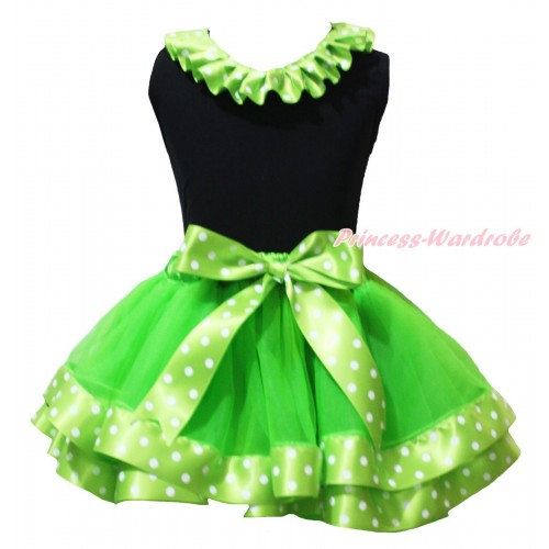 Black Baby Pettitop Dark Green White Dots Lacing & Dark Green White Dots Trimmed Newborn Pettiskirt NG2103