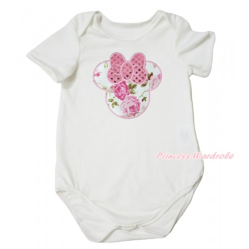 Cream White Baby Jumpsuit & Sparkle Light Pink Rose Minnie Print TH681