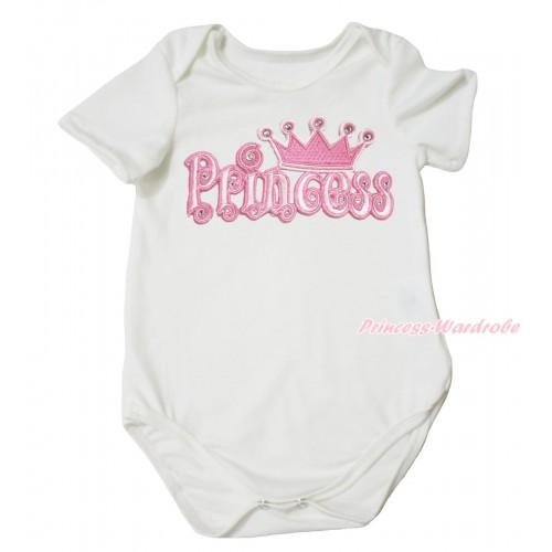 Cream White Baby Jumpsuit & Princess Print TH683