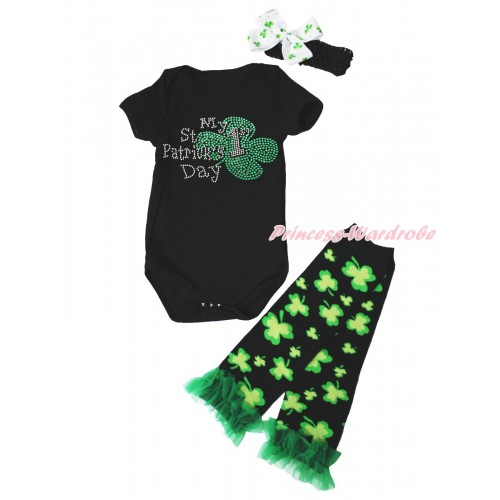 St Patrick's Day Black Baby Jumpsuit & Sparkle Rhinestone My 1st St Patrick's Day Print & Headband & Warmer Set TH688