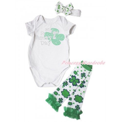 St Patrick's Day Cream White Baby Jumpsuit & Sparkle Rhinestone My 2nd St Patrick's Day Print & Headband & Warmer Set TH691