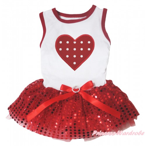 Valentine's Day White Red Piping Sleeveless Red Bling Sequins Gauze Skirt & Red White Polka Dots Heart Print & Red Rhinestone Bow Pet Dress DC317