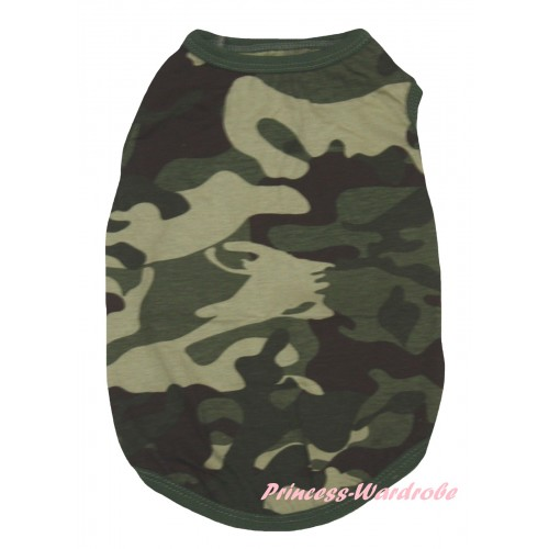 Plain Style Camouflage Sleeveless Pet Shirt Top DC347