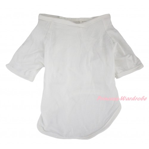 Plain Style White Short Sleeve Pet Shirt Top DC348