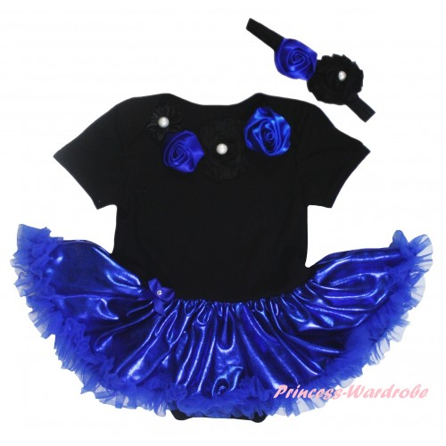 Black Baby Bodysuit Bling Royal Blue Pettiskirt & Royal Blue Black Vintage Garden Rosettes Lacing JS5917