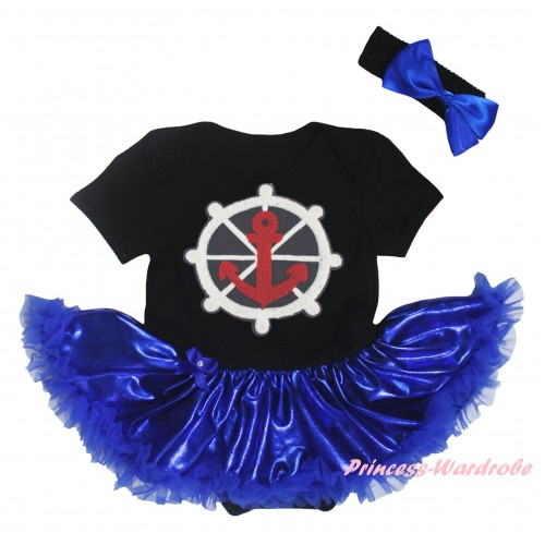 Black Baby Bodysuit Bling Royal Blue Pettiskirt & Anchor Print JS5920