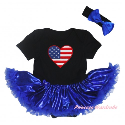 American's Birthday Black Baby Bodysuit Bling Royal Blue Pettiskirt & Patriotic American Heart Print JS5921