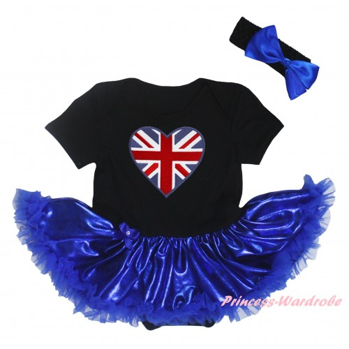 American's Birthday Black Baby Bodysuit Bling Royal Blue Pettiskirt & Patriotic British Heart Print JS5922
