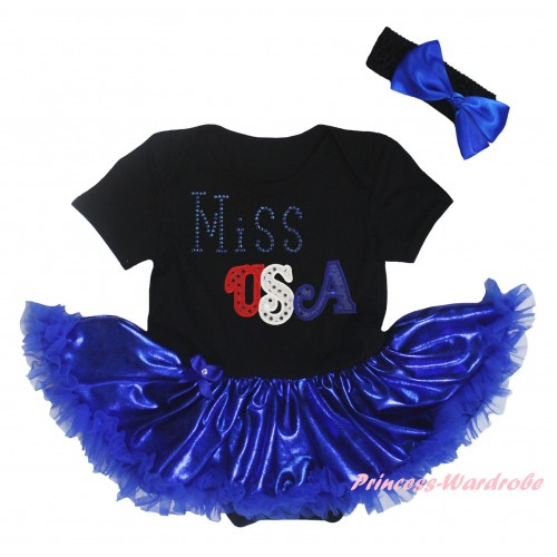 American's Birthday Black Baby Bodysuit Bling Royal Blue Pettiskirt & Sparkle Rhinestone Miss USA Print JS5924