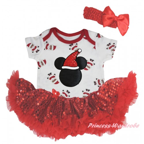 Christmas White Santa Claus Baby Bodysuit Bling Red Sequins Pettiskirt & Christmas Minnie Print JS5939