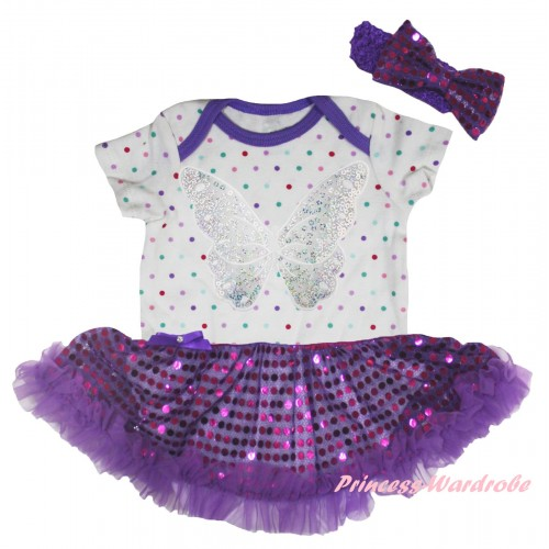 White Rainbow Dots Baby Bodysuit Bling Purple Sequins Pettiskirt & Silver Butterfly Print JS5954