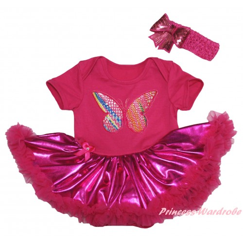 Hot Pink Baby Bodysuit Bling Hot Pink Pettiskirt & Butterfly Print JS5967