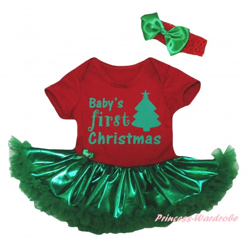 Christmas Red Baby Bodysuit Bling Kelly Green Pettiskirt & Baby's First Christmas Painting JS5981