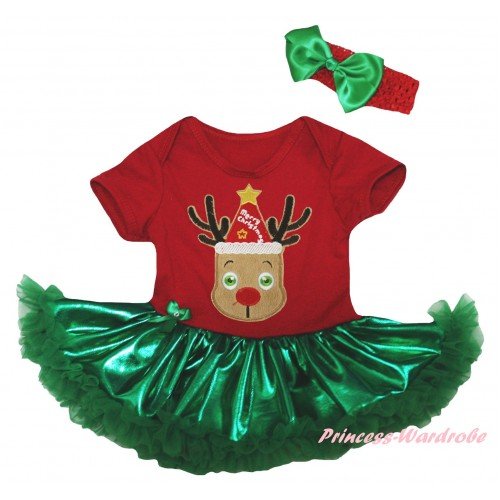 Christmas Red Baby Bodysuit Bling Kelly Green Pettiskirt & Red Hat Reindeer Print JS5984