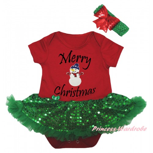 Christmas Red Baby Bodysuit Bling Kelly Green Sequins Pettiskirt & Merry Christmas Painting & Big Nose Snowman Print JS5988