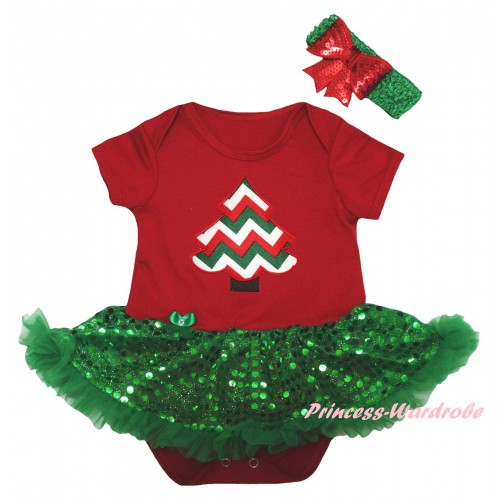 Christmas Red Baby Bodysuit Bling Kelly Green Sequins Pettiskirt & Striped Christmas Tree Print JS5989
