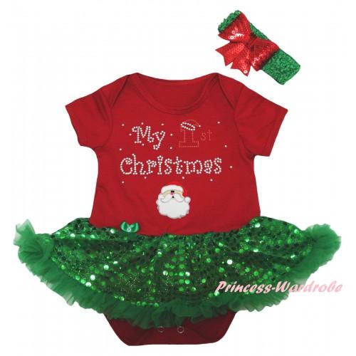 Christmas Red Baby Bodysuit Bling Kelly Green Sequins Pettiskirt & Sparkle Rhinestone My 1st Christmas Print & Christmas Santa Print JS5993