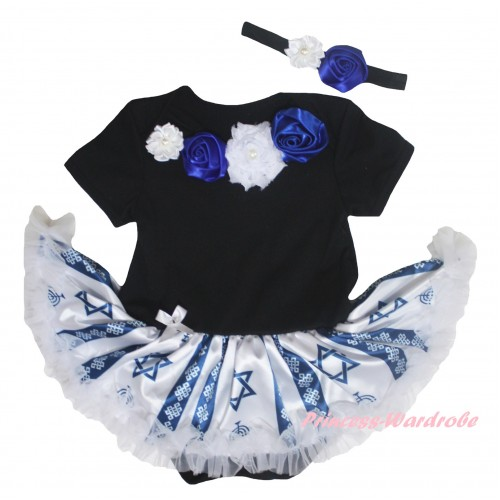Black Baby Bodysuit Candles Stars Pettiskirt & Royal Blue White Vintage Garden Rosettes Lacing JS6039