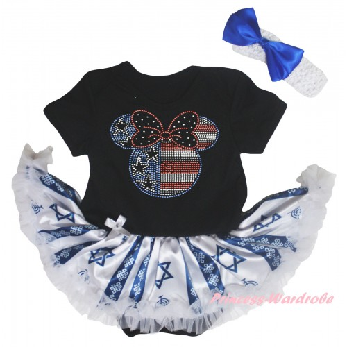 4th July Black Baby Bodysuit Candles Stars Pettiskirt & Sparkle Crystal Bling Rhinestone 4th July Minnie Print JS6042