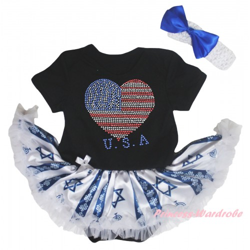 4th July Black Baby Bodysuit Candles Stars Pettiskirt & Sparkle Crystal Bling Rhinestone USA Heart Print JS6043