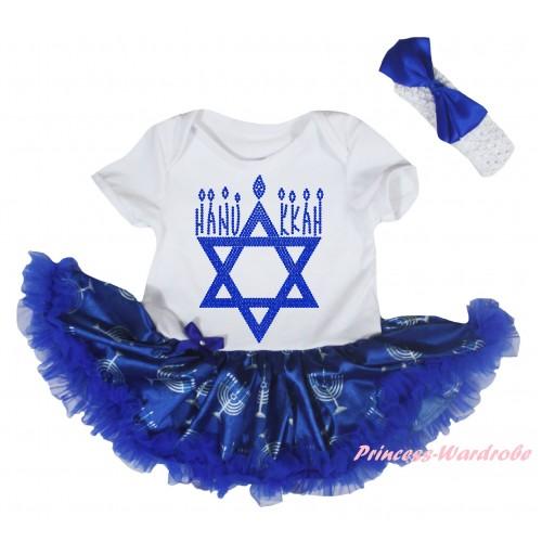 White Baby Bodysuit Blue White Candles Pettiskirt & Sparkle Rhinestone HANUKKAH Print JS6048
