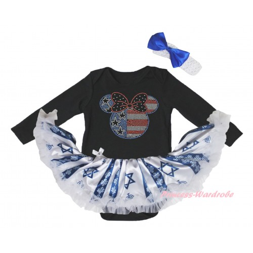 4th July Black Long Sleeve Baby Bodysuit Candles Stars Pettiskirt & Sparkle Crystal Bling Rhinestone 4th July Minnie Print JS6071