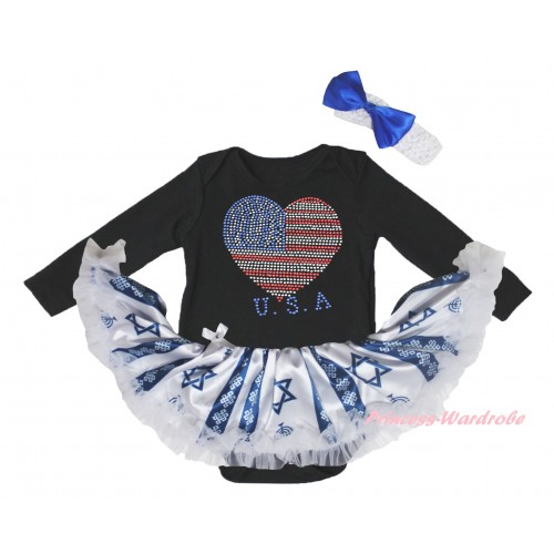 4th July Black Long Sleeve Baby Bodysuit Candles Stars Pettiskirt & Sparkle Crystal Bling Rhinestone USA Heart Print JS6072