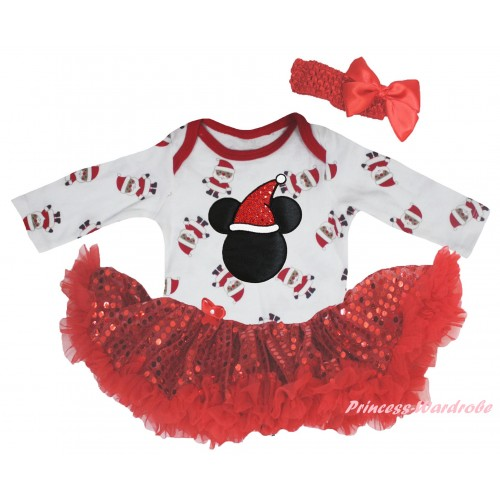 Christmas White Santa Claus Long Sleeve Baby Bodysuit Bling Red Sequins Pettiskirt & Christmas Minnie Print JS6124