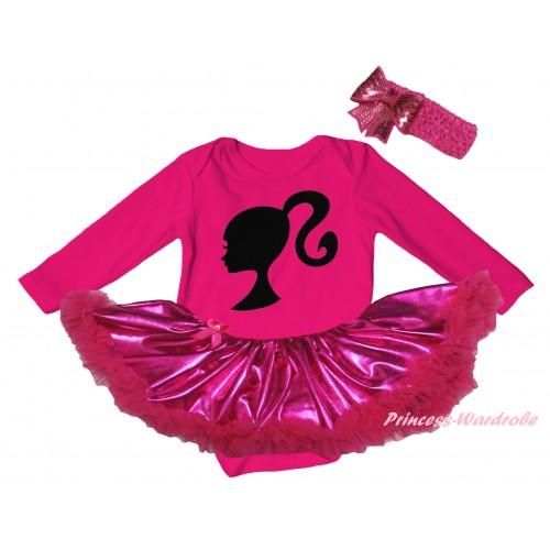 Hot Pink Long Sleeve Baby Bodysuit Bling Hot Pink Pettiskirt & Barbie Princess Print JS6142
