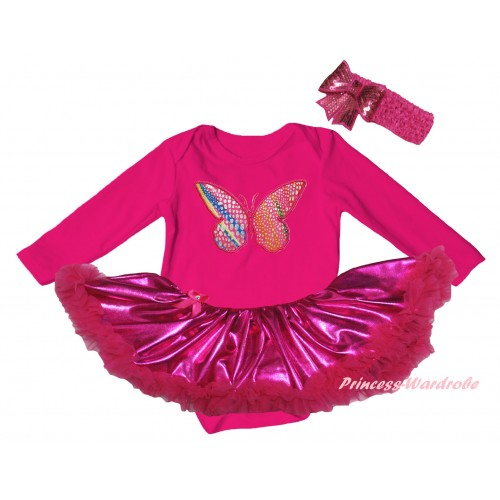 Hot Pink Long Sleeve Baby Bodysuit Bling Hot Pink Pettiskirt & Butterfly Print JS6143