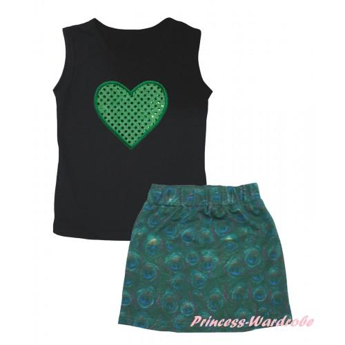 Black Tank Top Sparkle Kelly Green Heart Print & Peacock Girls Skirt Set MG2633