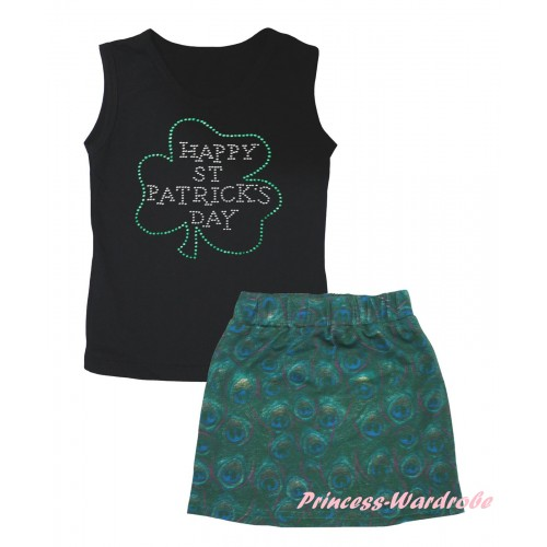 St Patrick's Day Black Tank Top Sparkle Rhinestone Clover Print & Peacock Girls Skirt Set MG2637