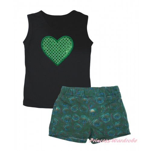 Black Tank Top Sparkle Kelly Green Heart Print & Peacock Girls Pantie Set MG2641