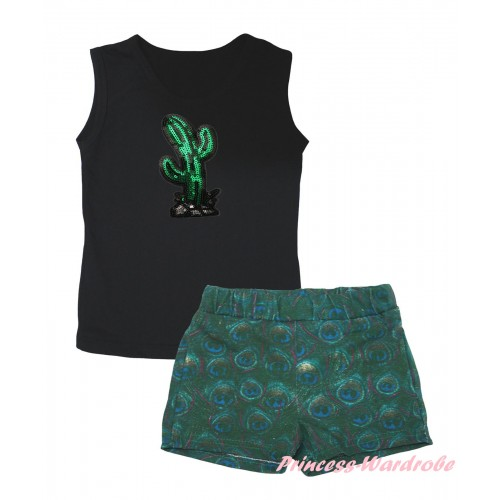 Cinco De Mayo Black Tank Top Sparkle Sequins Cactus Print & Peacock Girls Pantie Set MG2643
