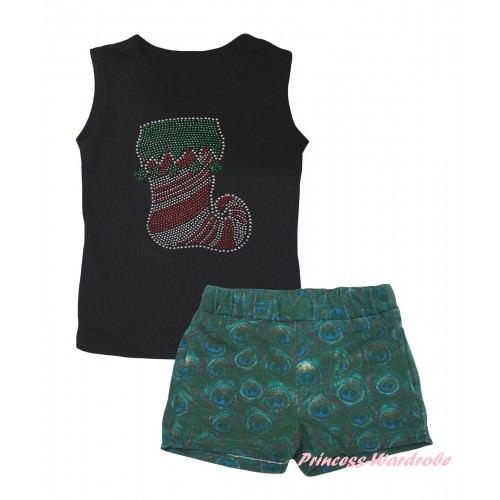 Christmas Black Tank Top Sparkle Crystal Bling Rhinestone Christmas Stocking Print & Peacock Girls Pantie Set MG2644