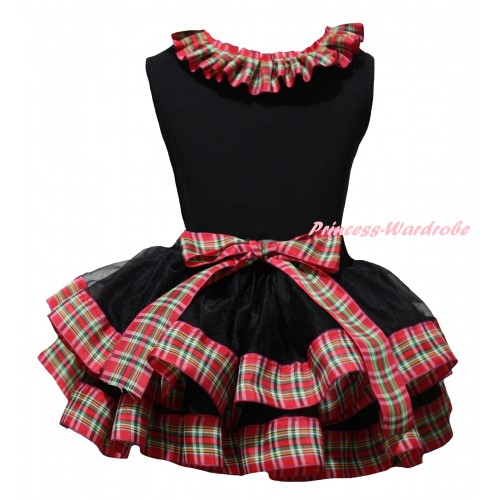Black Pettitop Red Green Checked Lacing & Black Red Green Checked Trimmed Pettiskirt MG2653