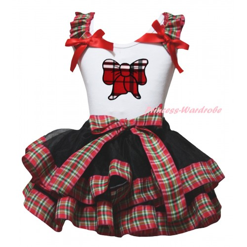 White Pettitop Red Green Checked Ruffles Red Bow & Red Black Checked Butterfly Print & Black Red Green Checked Trimmed Pettiskirt MG2673