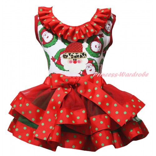 Christmas Santa Claus Pettitop Red Green Dots Lacing & Leopard Santa Claus Print & Red Green Dots Trimmed Pettiskirt MG2690
