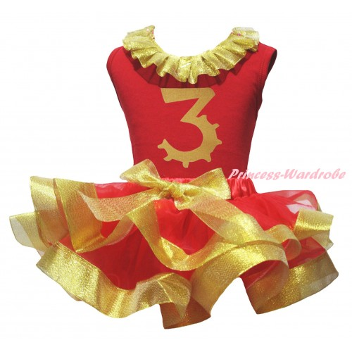Red Pettitop Gold Lacing & 3rd Birthday Number Painting & Red Gold Trimmed Pettiskirt MG2703