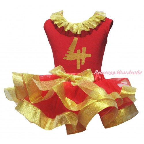 Red Pettitop Gold Lacing & 4th Birthday Number Painting & Red Gold Trimmed Pettiskirt MG2704