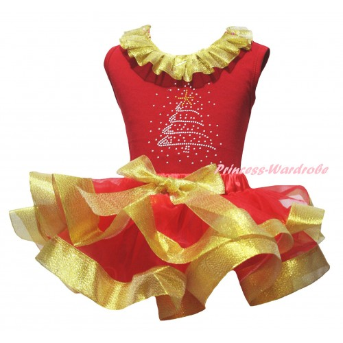 Christmas Red Pettitop Gold Lacing & Sparkle Rhinestone Christmas Tree Print & Red Gold Trimmed Pettiskirt MG2707